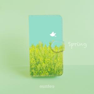 手帳型スマホケース「spring」